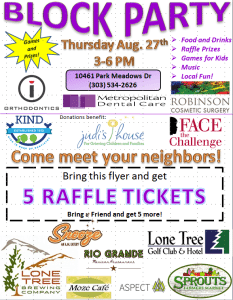 Block Party Flyer for Lone Tree CO dentist