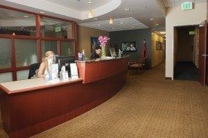 Metro Dental Care reception area for dental office in Denver CO