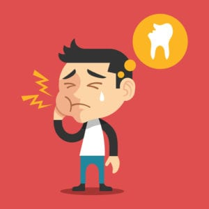 digital illustration of a young man with a broken tooth