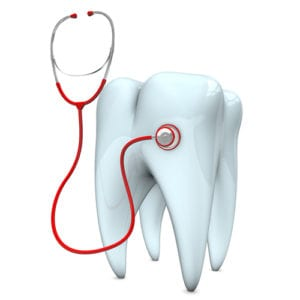 digital image of molar tooth with stethoscope