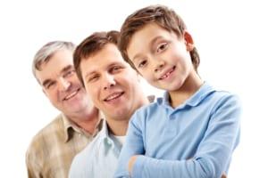portrait of three generations of men