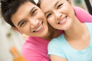 young smiling ethnic couple